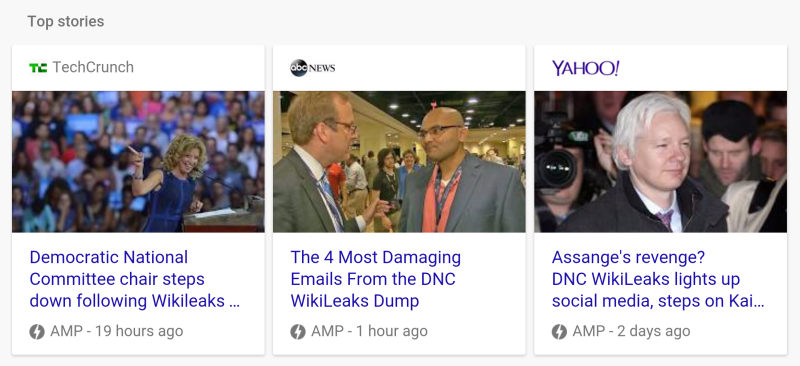Google Mobile News Carousel featuring AMP content