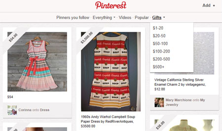 Pinterest Gifts Section