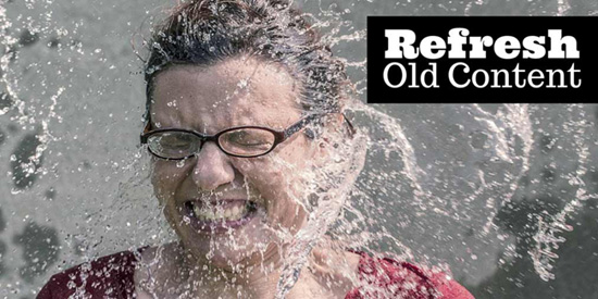 Graphic showing Woman getting Drenched with Water and the Tagline Refreshing Content