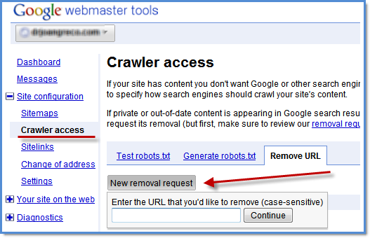 Google Updates URL Removal Tool in Webmaster Tools