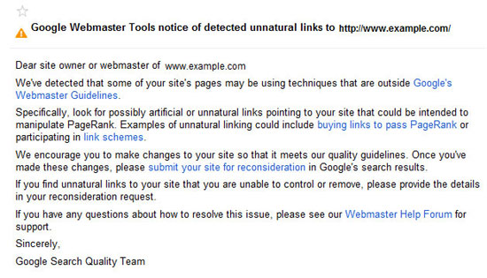 Google Unnatural Links Warning